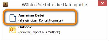 Datenquelle am PC auswählen