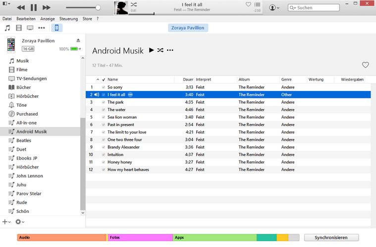 Wiedergabelisten in iTunes