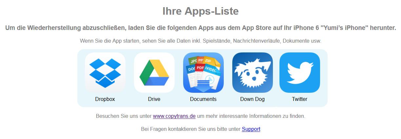 iOS Apps sichern und wiederherstellen