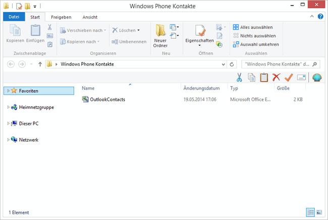 Outlook Kontakte am PC speichern