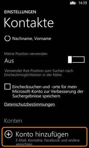 Outlook Account hinzufügen