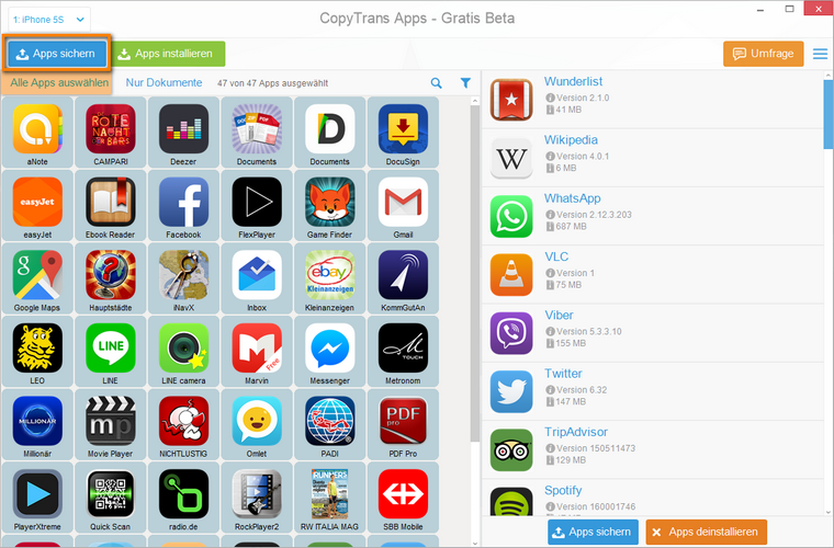 iPhone Apps zum PC exportieren