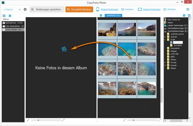 Actioncam Fotos auf iPhone und iPod hinzufügen