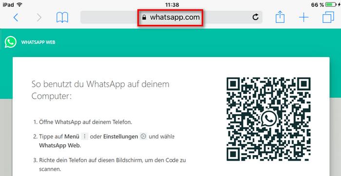 Die Desktop-Version wird mit QR-Code geladen