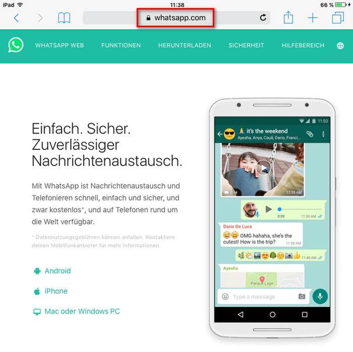 Online-Version von WhatsApp öffnen
