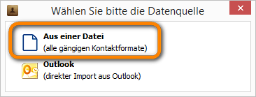 Kontakte aus einer Datei wählen
