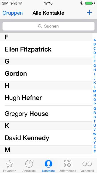 iPhone Kontakte-App
