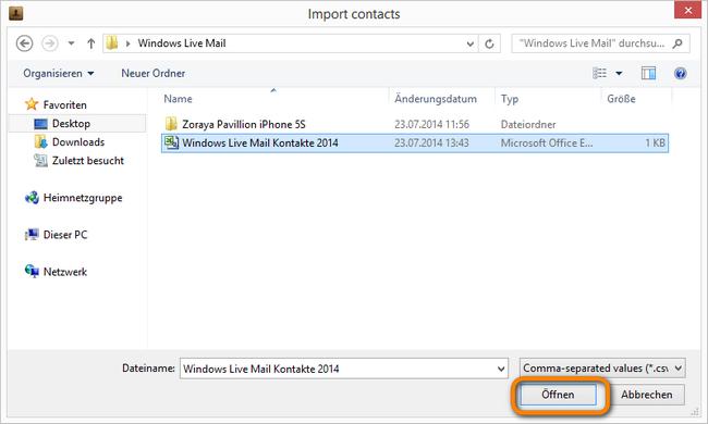 Kontakte vom PC aufs iPhone  kopieren