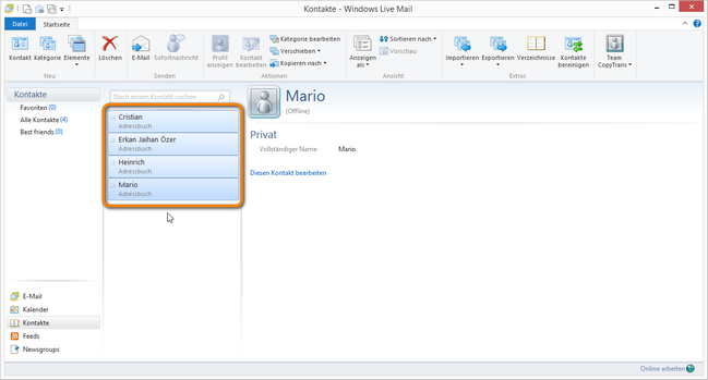 Windows Kontakte exportieren
