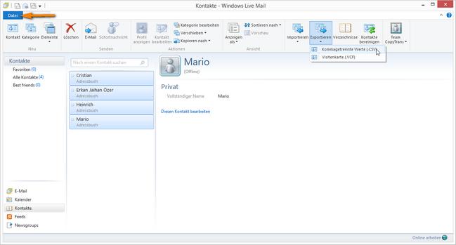 Windows Live Mail Kontakte exportieren