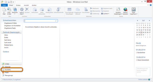 Windows Live Mail Kontakte
