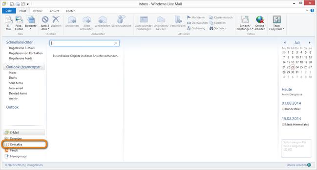 Windows Live Mail Kontakte