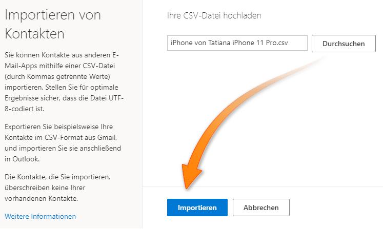 iPhone Kontakte auf Windows Phone
