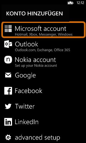 Microsoft Account anmelden