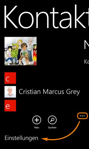 Nokia Lumia Kontakte-App öffnen
