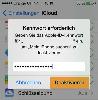 Apple ID Kennwort eingeben