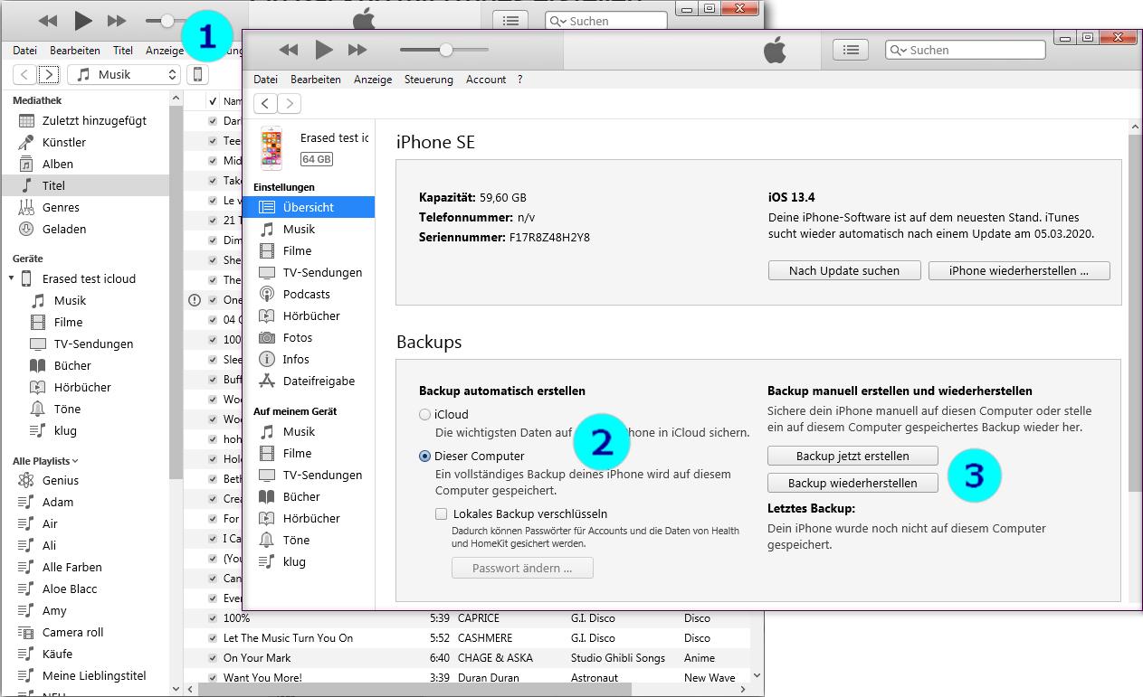iPhone Backup mit iTunes erstellen