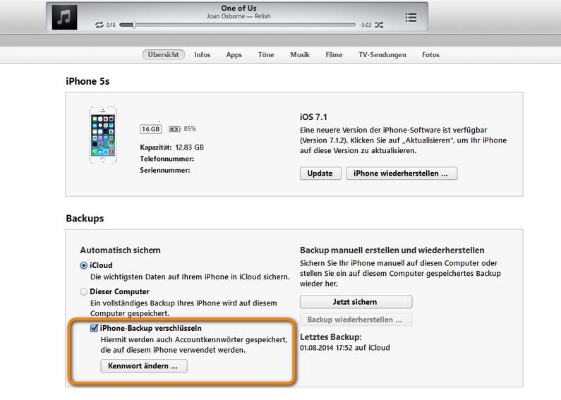 Verschlüsselte iOS Backup