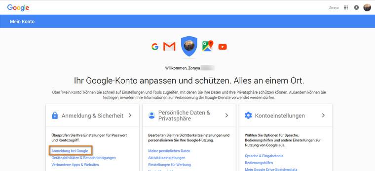 Anmeldung und Sicherheit Gmail