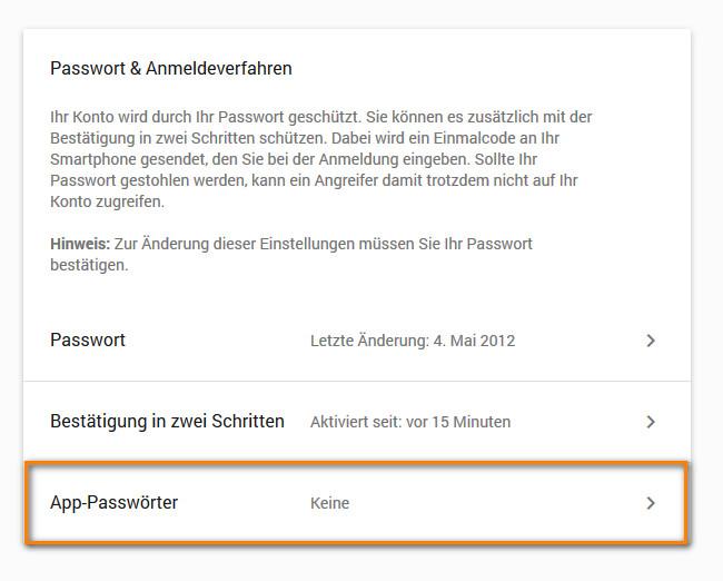 Gmail App Passwörter