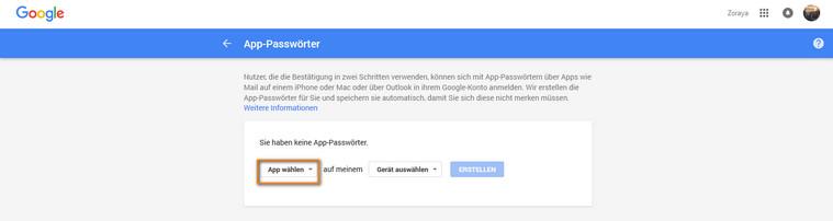 programmspezifisches Passwort