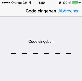 Geben Sie den Code ein
