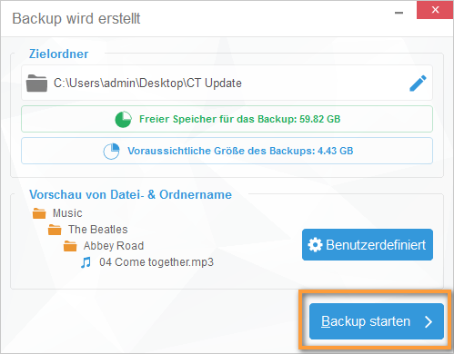 iPhone backup starten