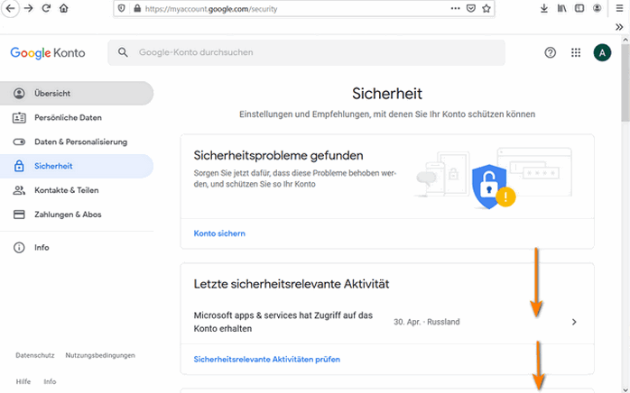 In Google die Konto-einstellungen Sicherheit auswählen