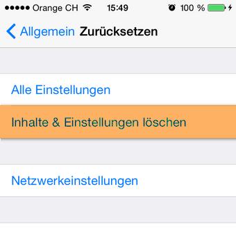 iPhone Inhalte und Einstellungen löschen