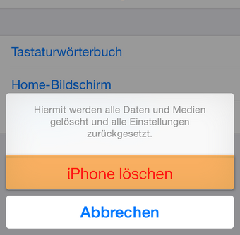 iPhone auf Werkeinstellungen zurücksetzen