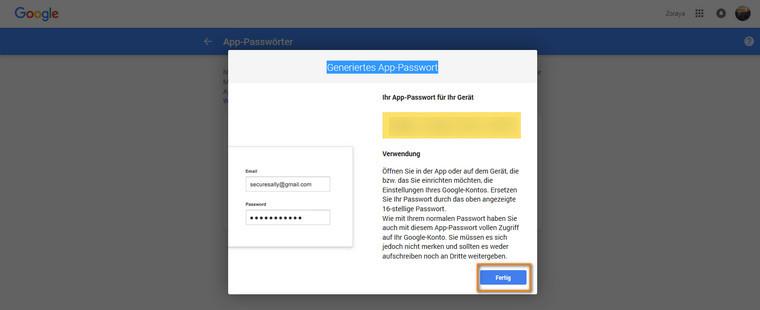 generiertes App-Passwort
