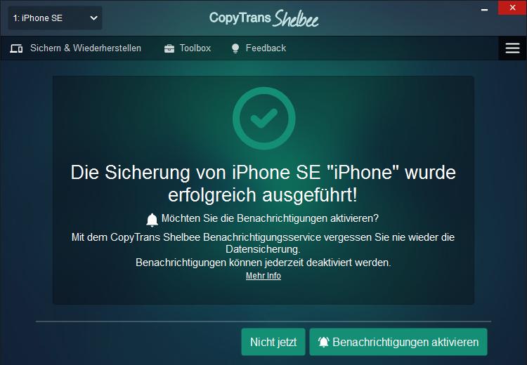 iTunes Backup nicht kompatibel
