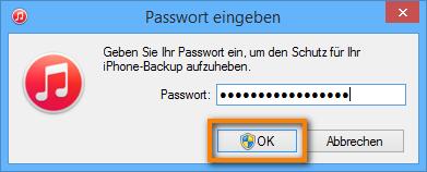 iPhone Backup Passwort eingeben