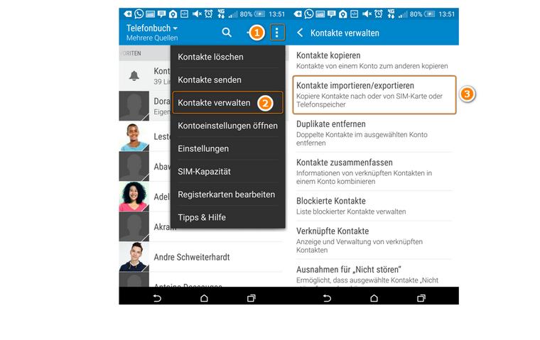 HTC ONe Kontakte exportieren/importieren
