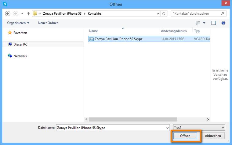 Kontakte in Skype importieren