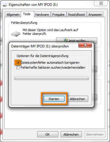Dateisystemfehler beheben