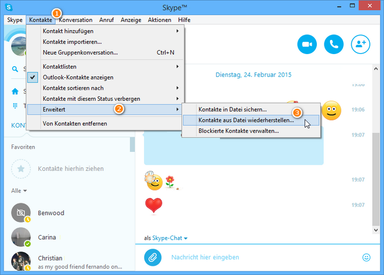 Kontakte im Skype wiederherstellen