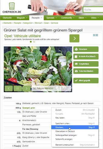 Rezepte ald PDF am PC sichern