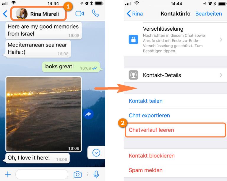 WHatsApp Chat leeren oder WhatsApp Nachrichten löschen und Bilder behalten