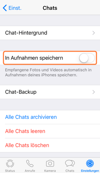 Die automatische Sicherung der WhatsApp Bilder abschalten