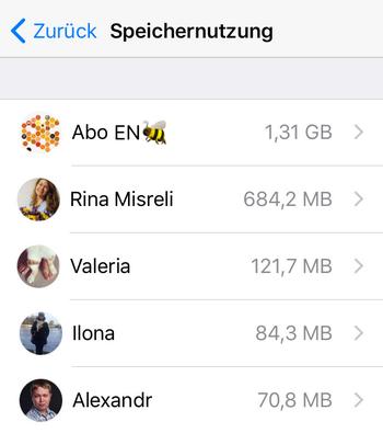 WhatsApp Chats Speicher verbrauchen