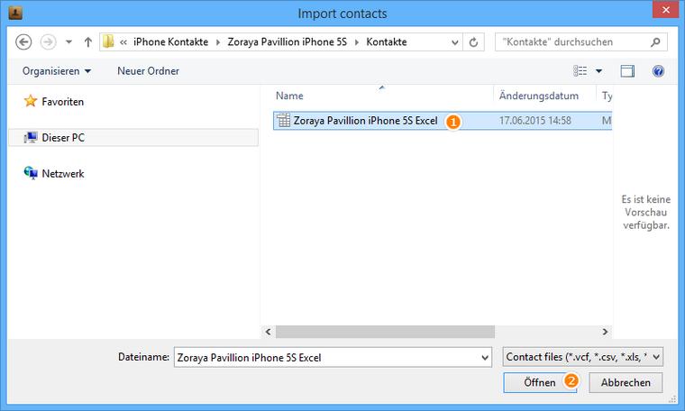 Excel-Datei am iPhone importieren