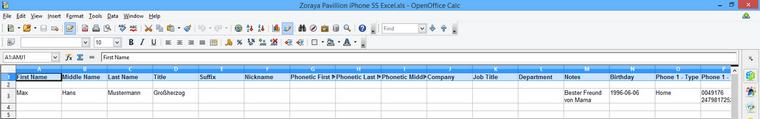 iPhone Kontakte im Excel bearbeiten