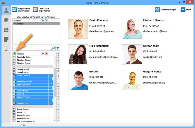 Exchange Kontakte zu Cloud hinzufügen