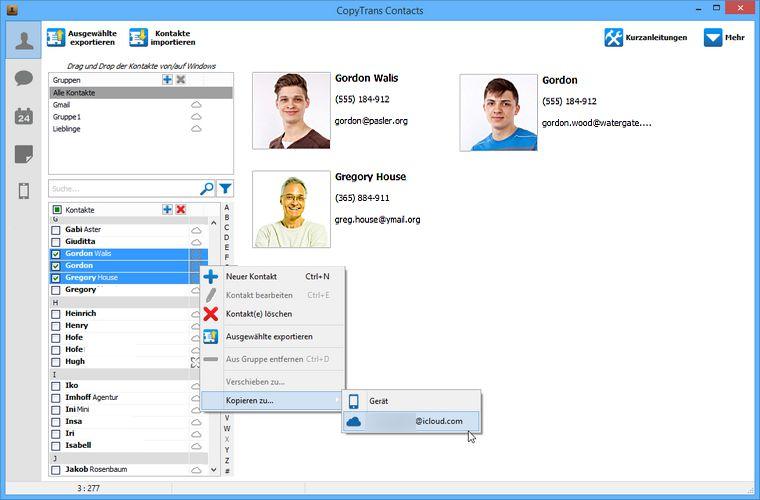 Exchange Kontakte in Cloud kopieren