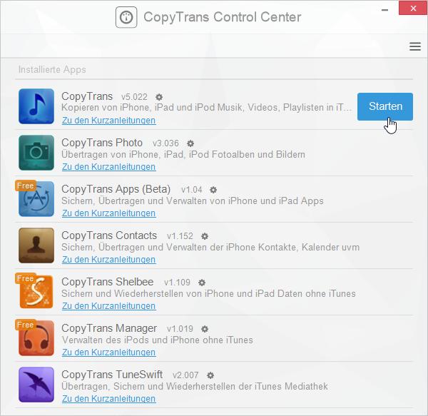 Neueste CopyTrans Programme verwenden