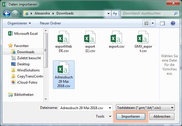 CSV Datei öffnen