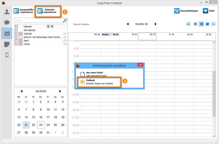 Outlook Kalender importieren