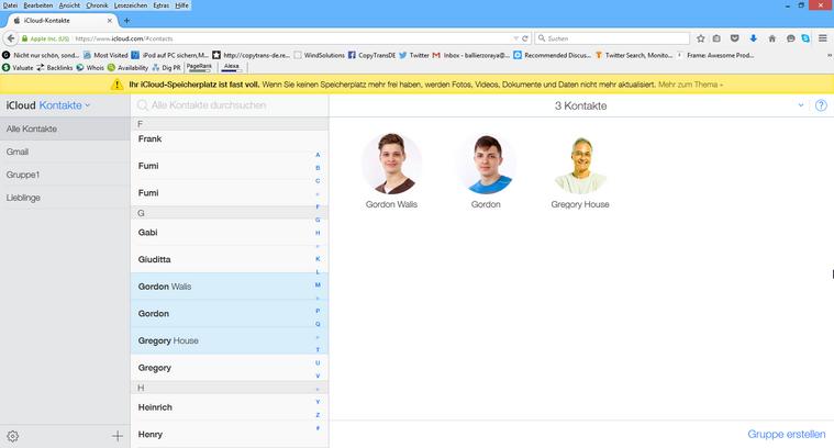 Exchange Kontakte in iCloud