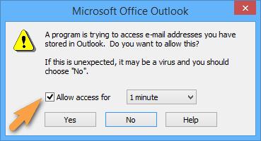 Zugriff für Outlook gewähren
